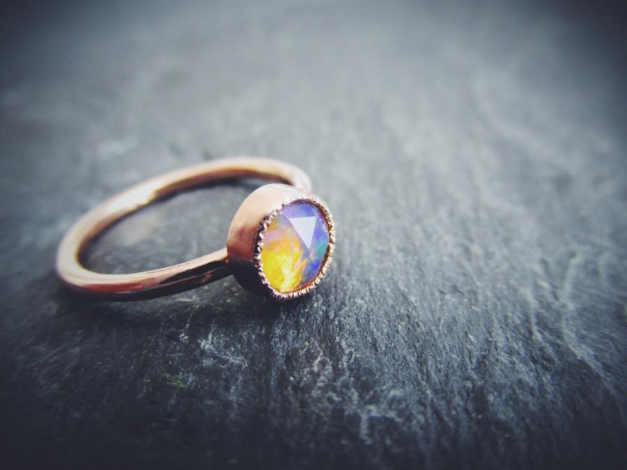 Mariage - Rose Cut Welo Opal 14K Rose Gold Unique Engagement Ring, Stacking Ring, October Birthstone, Solid Gold Wedding Ring Custom Made in Your Size