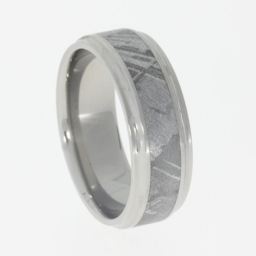 Mariage - Meteorite Wedding Band, Titanium Concave Edges