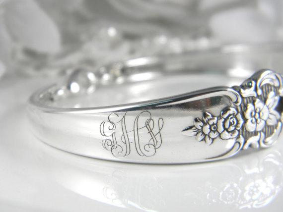 Mariage - PERSONALIZED Bridesmaids Bracelets, Personalized Bridesmaids Gifts, Spoon Bracelets, Name or Monogram, FREE Engraving, Choose QUANTITY