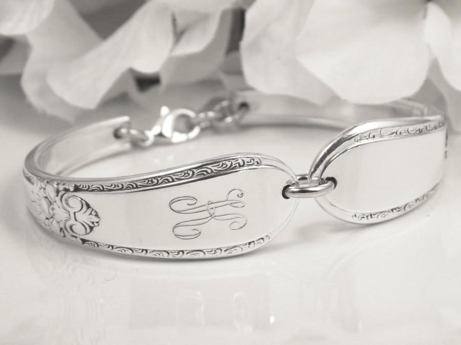 Mariage - Vintage Spoon Bracelet, Personalized, Monogram, Bridesmaid, Flower Girl, Maid of Honor, Mother of Bride, Mother of Groom, FREE ENGRAVING