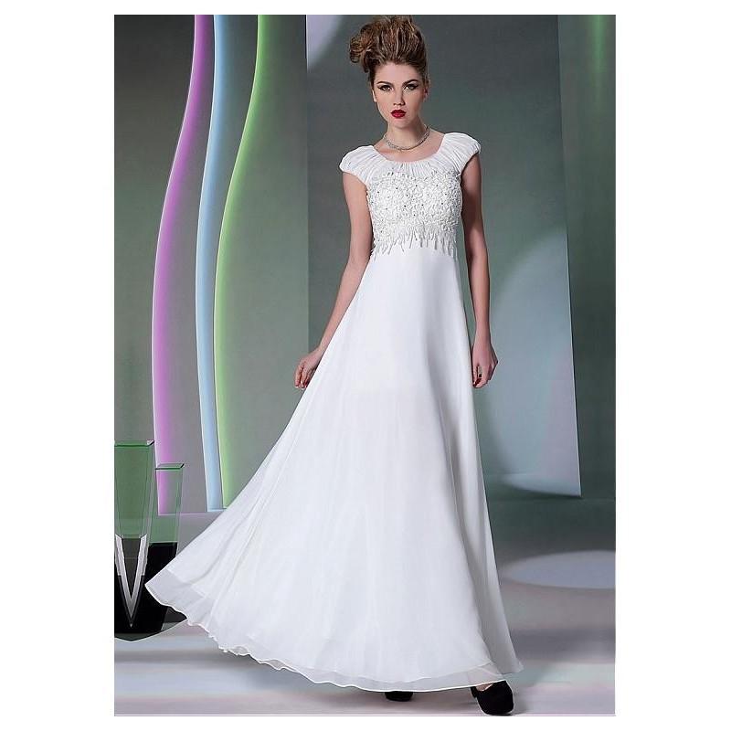 Wedding - In Stock Graceful Composite Yarn Jewel Neckline Floor-length A-line Formal Dress - overpinks.com