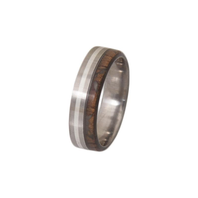 Mariage - Titanium Ring mand ring Mens Wood Wedding Band with Titanium Ring woman man ring
