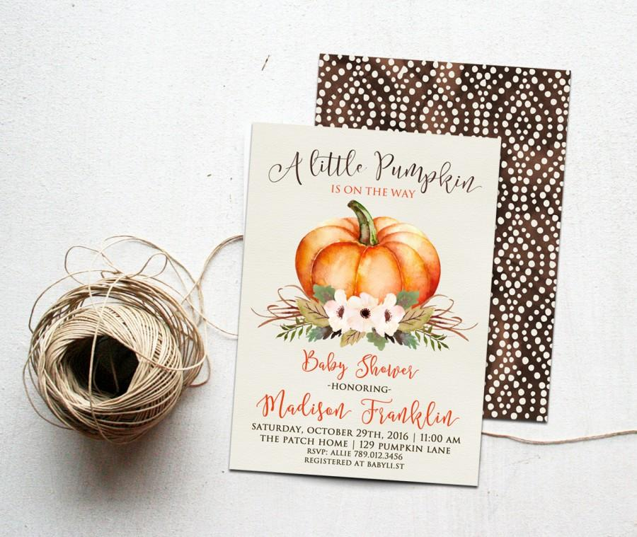 Boda - Little Pumpkin Fall Baby Shower Invitation Printable, Autumn Invite, Gender Neutral Colors, is on the way, Orange and Brown Harvest, October