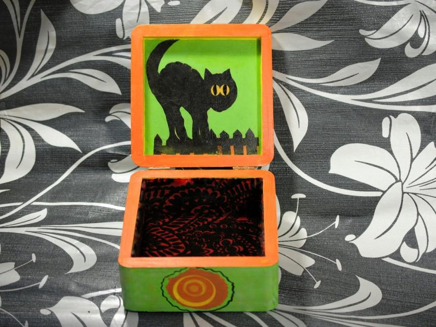 Decoupage Box Decorated Halloween Vintage Style Black Cat Fall Decor Wood Jewelry Hand Painted Ornaments October Birthday