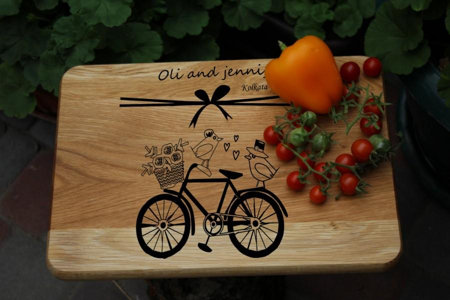 Wedding - Personalized cutting board , Wedding gift for the couple , Personalized wedding gift , Personalized anniversary engraved Birds & bicycle