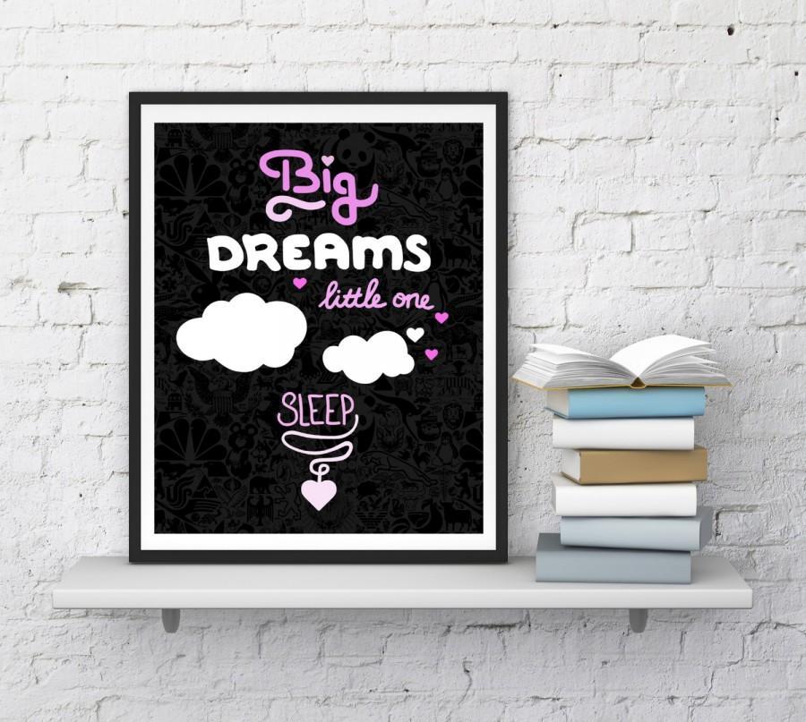 Wedding - Big dreams little One, Wall Decal, Nursery Wall Decal, Nursery Decor, Bedroom Decor, Kids Wall Art, Nursery Wall Quote, InstantDownloadArt1