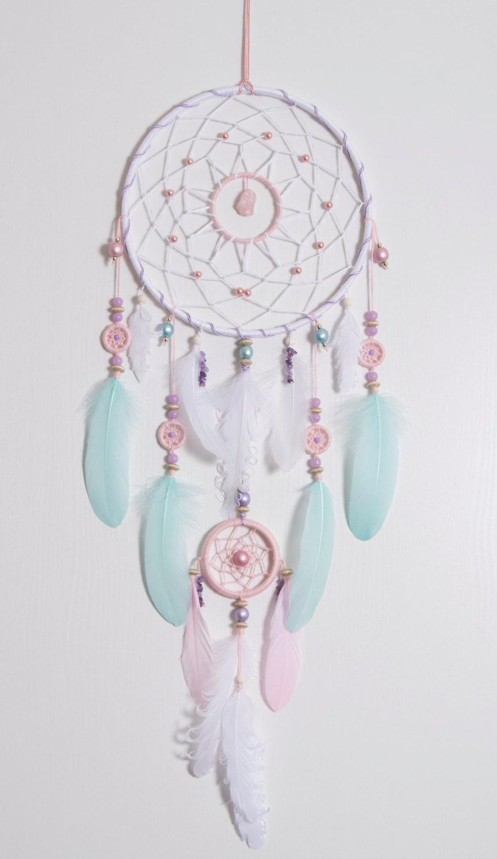 Large Pink Mint Dream Catcher Bohemian Dreamcatcher Boho Stale ...