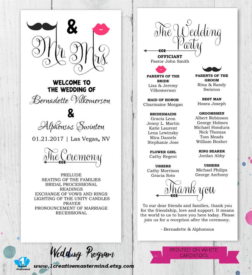 diy fun wedding program template printable editable template