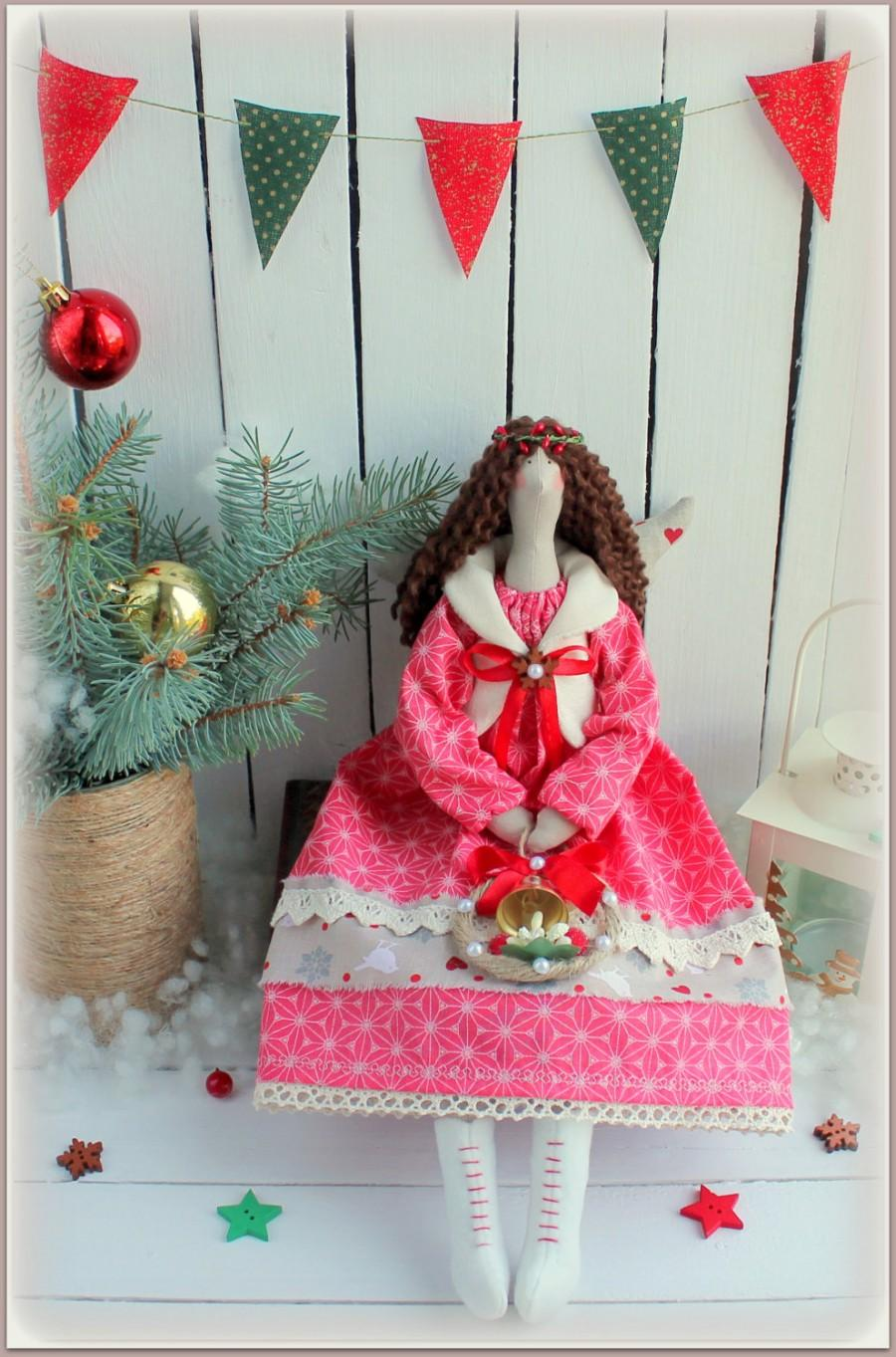 Wedding - Christmas angel cloth doll Tilda rag doll-gift for Christmas-stuffed doll- тряпичная кукла тильда christmas decoration angel Soft Ornament