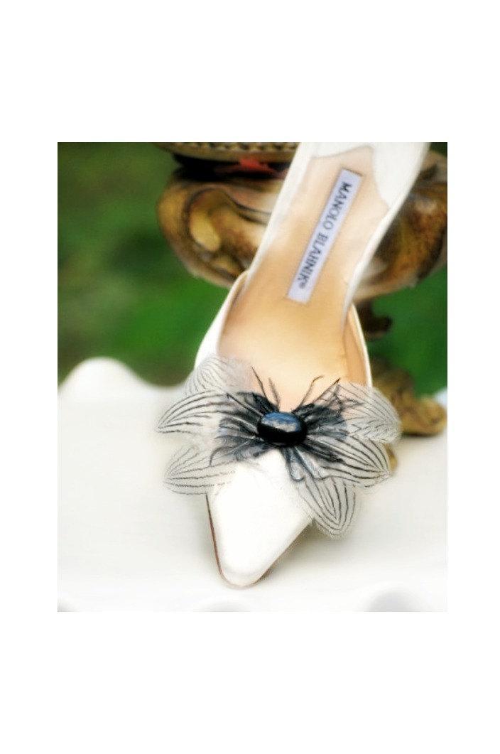 Mariage - Black White Stripes Shoe Clips Bow & Oval Gem. Couture Statement Bridal Bride Bridesmaid, Gossip Girl Spring, Elegant Boudoir, Birthday Gift