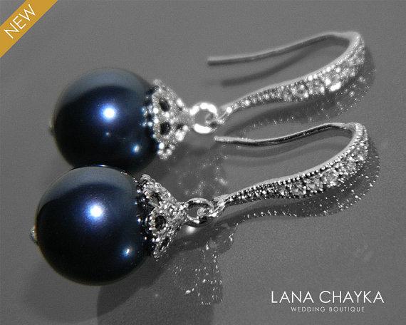 Navy Blue Pearl Earrings Swarovski 10mm Night Drop Wedding Dark Dangle Deep Silver Earring