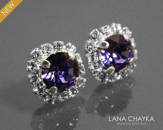 Свадьба - Tanzanite Crystal Halo Earrings Swarovski Tanzanite Rhinestone Earring Studs Violet Bridesmaids Earrings Tanzanite Sparkly Halo Earrings