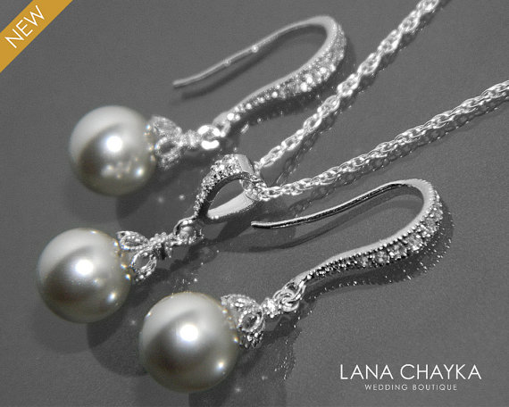 Wedding - Light Grey Pearl Earrings and Necklace Set STERLING SILVER Cz Grey Drop Pearl Set Swarovski 8mm Pearl Necklace&Earrings Set Wedding Jewelry