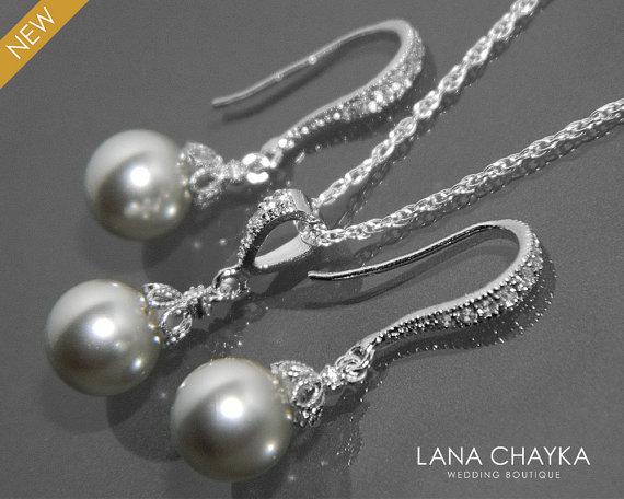 Düğün - Light Grey Pearl Earrings and Necklace Set STERLING SILVER Cz Grey Drop Pearl Set Swarovski 8mm Pearl Necklace&Earrings Set Wedding Jewelry