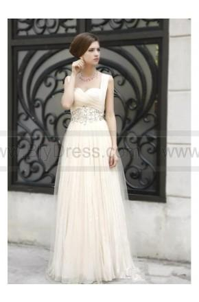 Mariage - Best-Selling Vintage Floor-Length Straps Empire Waistline Flowers Long White Prom Dresses/Evening Dresses PD7116