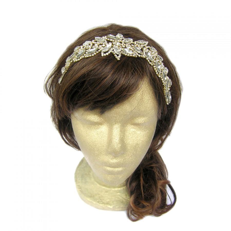 Wedding - Art Deco Bridal Headpiece, Rhinestone Leaf Crown, 1920s Hair Accessories, Rhinestone Leaf Wedding Headband, Downtown Abbey, Great Gatsby