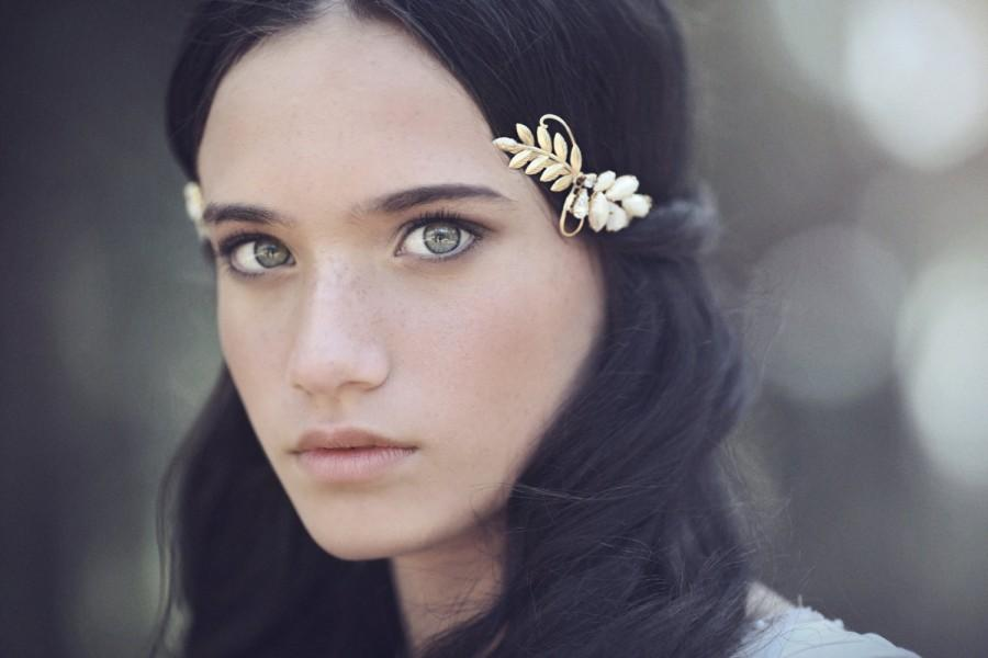 Mariage - Victoria Greek Goddess Headband, Rear Headband, Bridal Hair Accessory, Gold Wreath Wedding Tiara Roman Crown, Grecian Wreath, Pearl Headband
