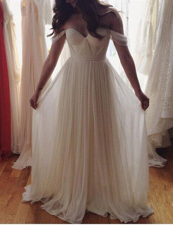 Mariage - Boho Chic Boho Wedding Bridesmaids Dress Off Shoulder Wedding Dress A Line Wedding Dress