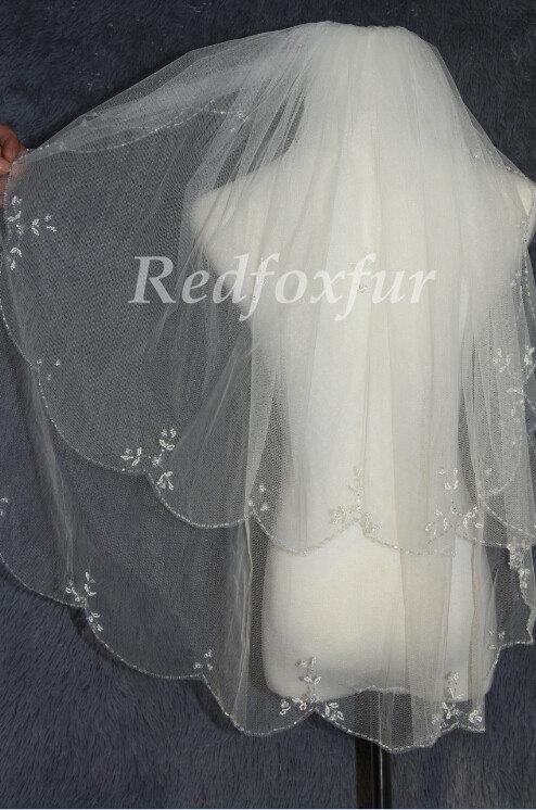 Mariage - 2T Bridal Veil, hand-beaded wedding veils, bridal veil flounced