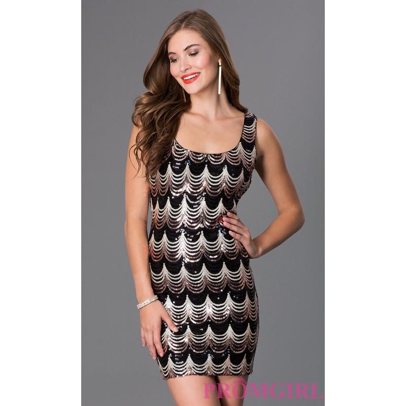 Hochzeit - Short Sleeveless Sequin Print Dress in Black and Gold - Discount Evening Dresses