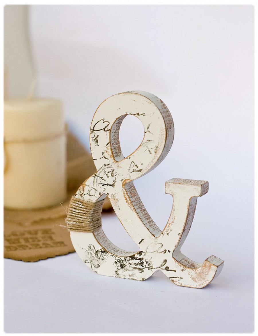 Wooden ampersand stand alone rustic cake topper for Decoration 9 letters