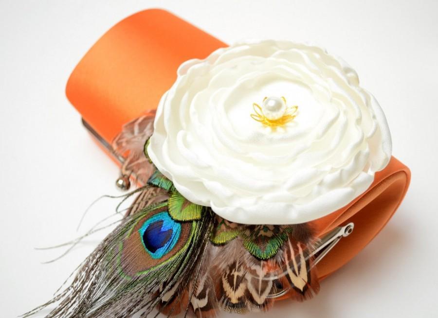 Mariage - Bright Orange & Ivory Bridal Clutch - Bridesmaid Clutch - Bouquet Clutch - Bohemian Woodland Boho Feather Clutch