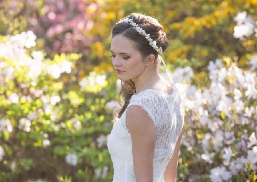 Wedding - Pearl flower crown, bridal flower crown, Wedding tiara with pearls and babys breath flowers, Wedding flower crown, style ***Eve Rustic***