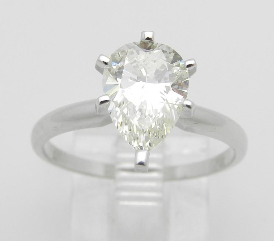 Свадьба - 1.80 ct Pear SOLITAIRE Diamond Engagement Ring 14K White Gold EGL Certificate