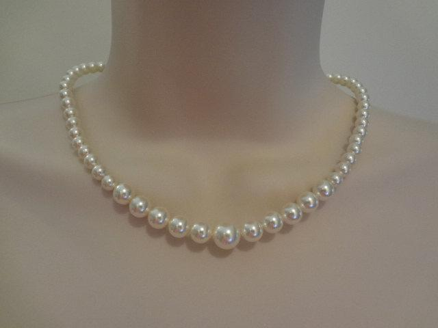 زفاف - Wedding Jewelry Bridal Graduated pearl necklace rhinestone wedding jewelry, bm pearl necklace, PN045