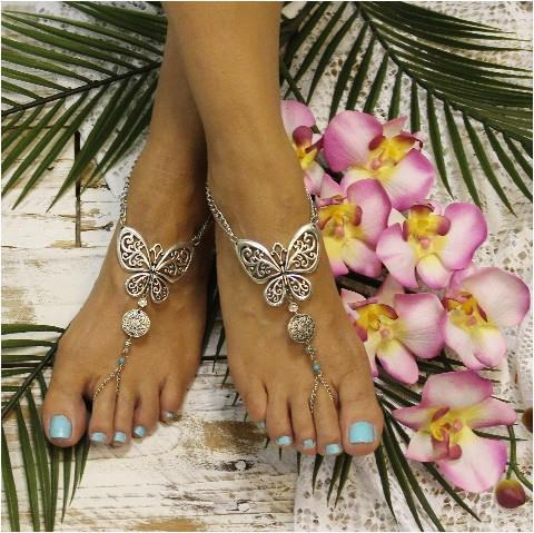 Mariage - BUTTERFLY - barefoot sandals - silver (ooak)