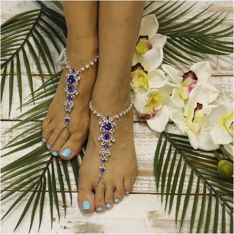 Mariage - SAPPHIRE - wedding barefoot sandals - blue