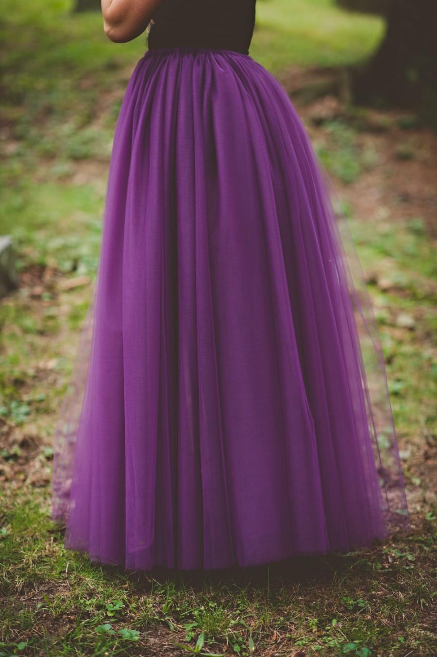 Floor Length Tulle Skirt Bridesmaid Skirt Eggplant Long