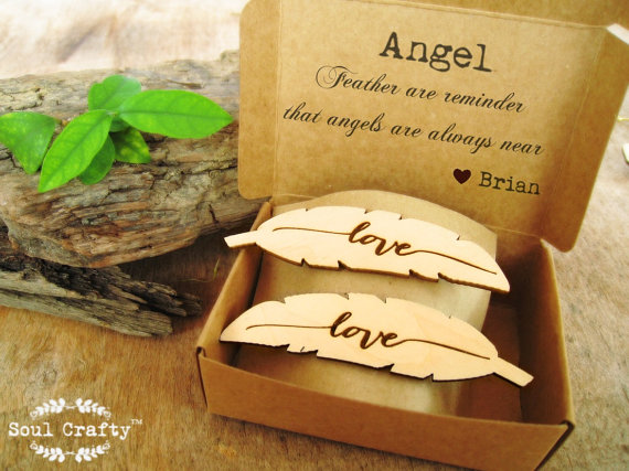 Angel Feather Hair Clips Love Personalized Message Bridesmaid Best Friend Valentine Wedding Gift Rustic Laser Engraved Wood