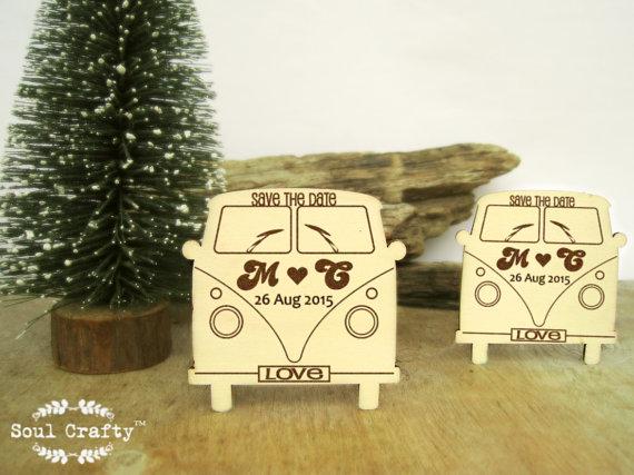 Wedding - Save The Date Wooden VW Campervan Fridge Magnet Engraved Rustic Vintage Destination Wedding Gift invitation Decoration Bridal Pack of 30 /50