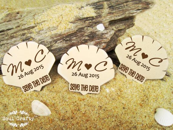 save the date wooden seashell clam fridge magnet engrave rustic