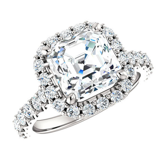 Wedding - 8mm Asscher Cut Forever One Moissanite & Diamond Halo Engagement Ring 14k White Gold, 18k or Platinum, 2 CT Moissanite Rings for Women Etsy