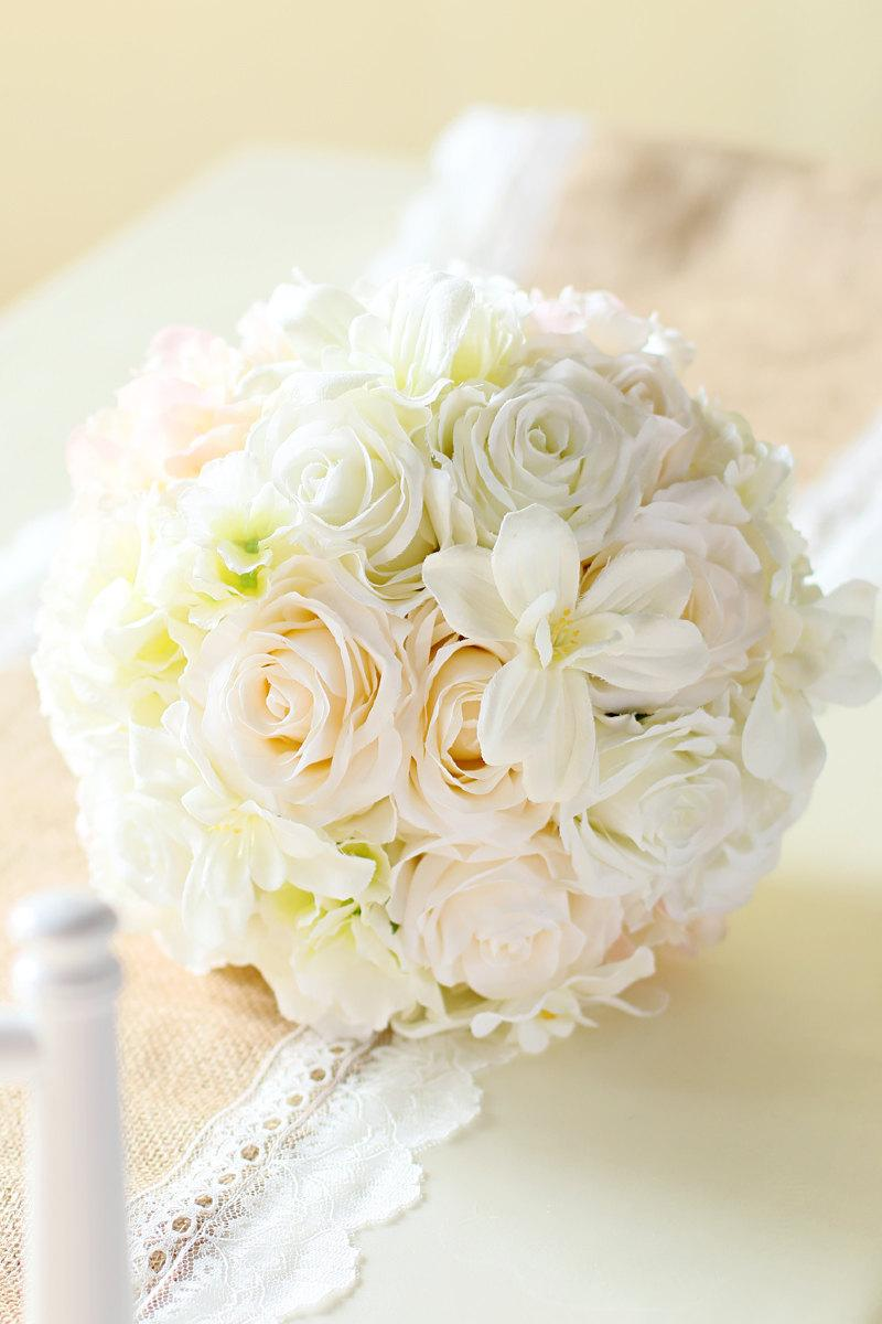 Hochzeit - Vintage Silk Bride Bouquet Hydrangea Roses Blush Cream Shabby Chic Modern Wedding Flower BQL/BNL063