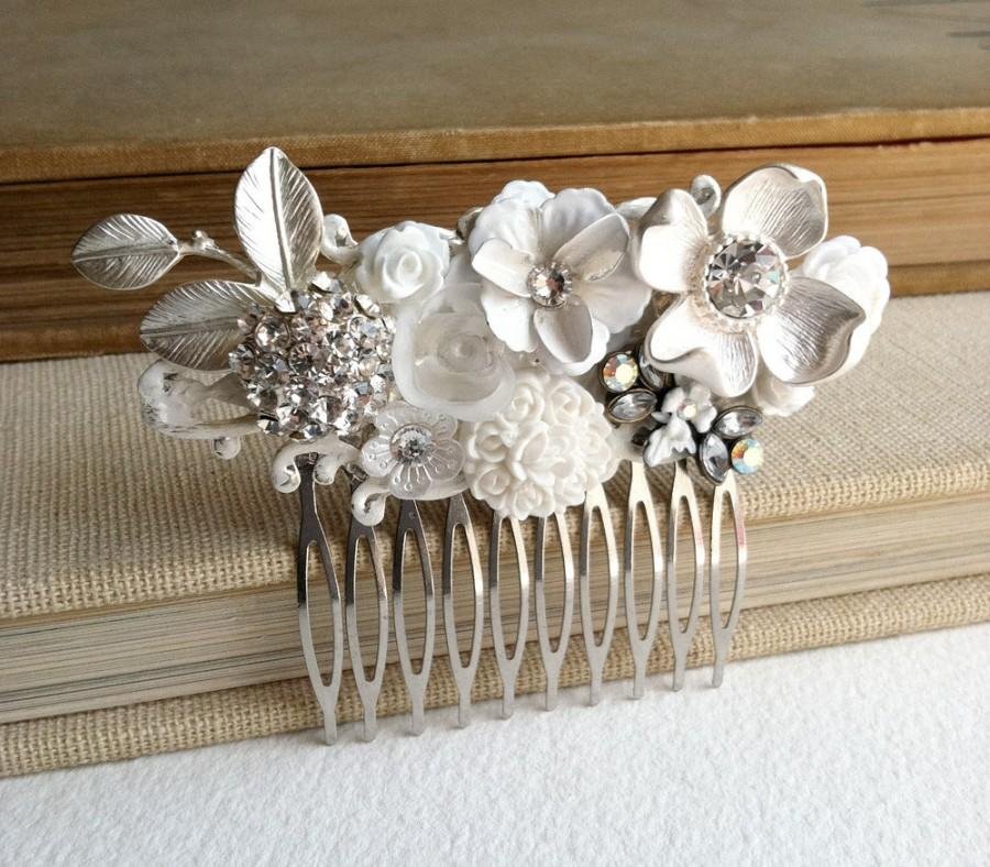 Hochzeit - Rustic wedding,Bridal comb silver, white wedding comb, white bridal comb, floral, woodland wedding, nature rustic white flower silver