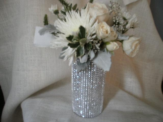 Mariage - Rhinestone Crystal Ribbon Bouquet Vases Centerpiece bling wedding vases Set of (10)