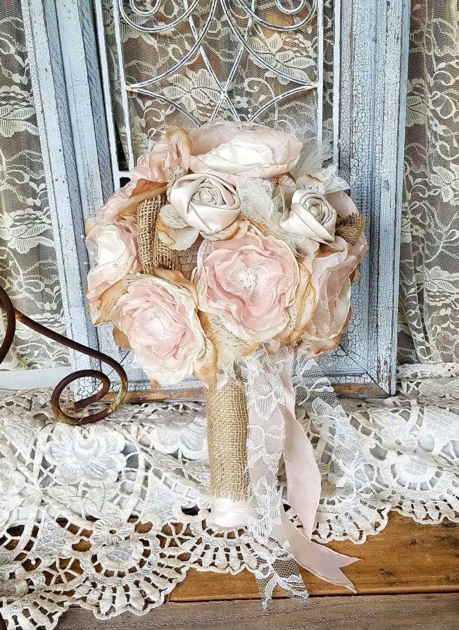 Wedding - Burlap Bridal Bouquet, Burlap Wedding Flowers, Rustic Chic bouquet, Wedding Bouquet, Silk Flower bouquet, Burlap Wedding, Country Wedding