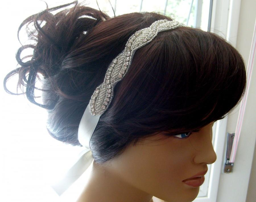 Mariage - Vintage style art deco crystal rhinestone beaded bridal headband designed ivory double face ribbon bridal hair accessory bridesmaid gifts