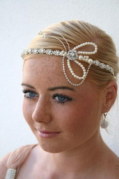 Mariage - 1920s Flapper Style Brow Tiara Headpiece with Rhinestones and Pearls - Unique