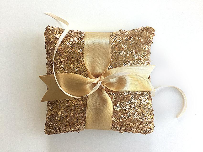 EXPRESS SHIPPING Wedding Ring Bearer Pillow Gold Sequin Ring