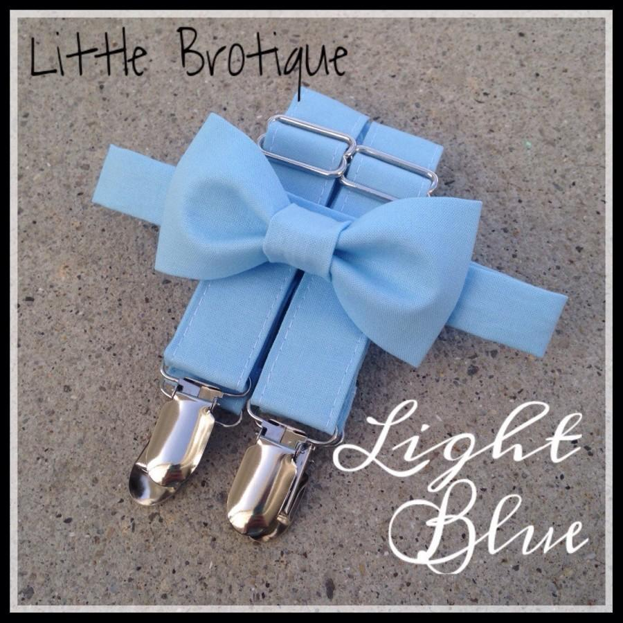 Wedding - Light Blue Bow Tie and Suspender Set for babies, toddlers, boys, and men. Sent 3-5 days after you order.
