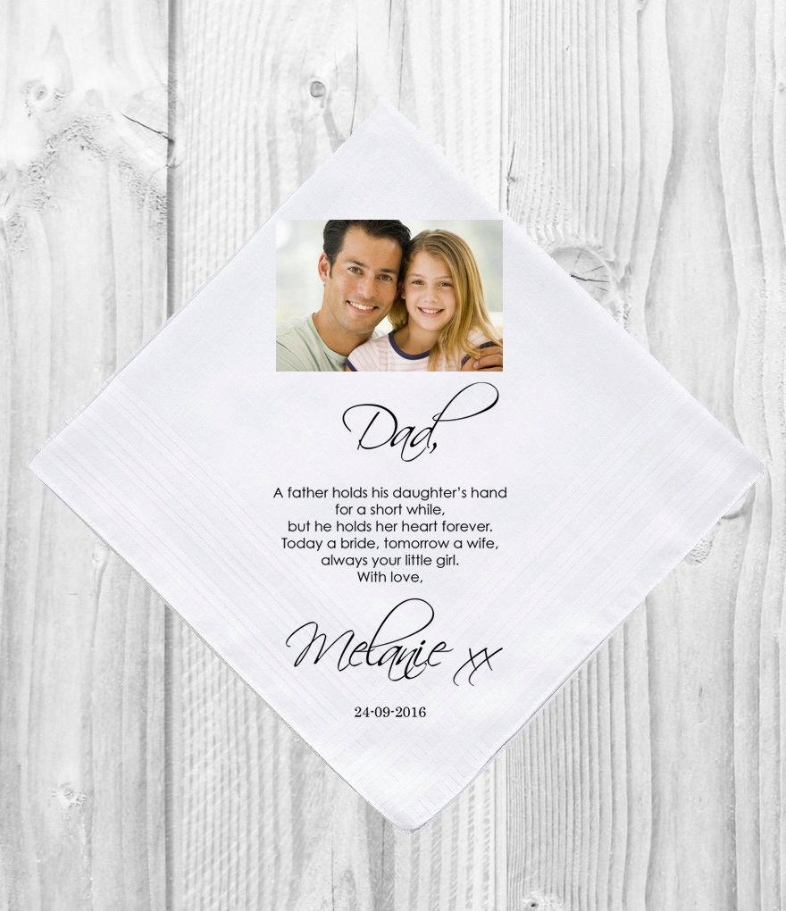 Mariage - Personalised Father of the Bride Handkerchief with Photo Picture Customised Personalized Customized Printed Wedding Gift Favor