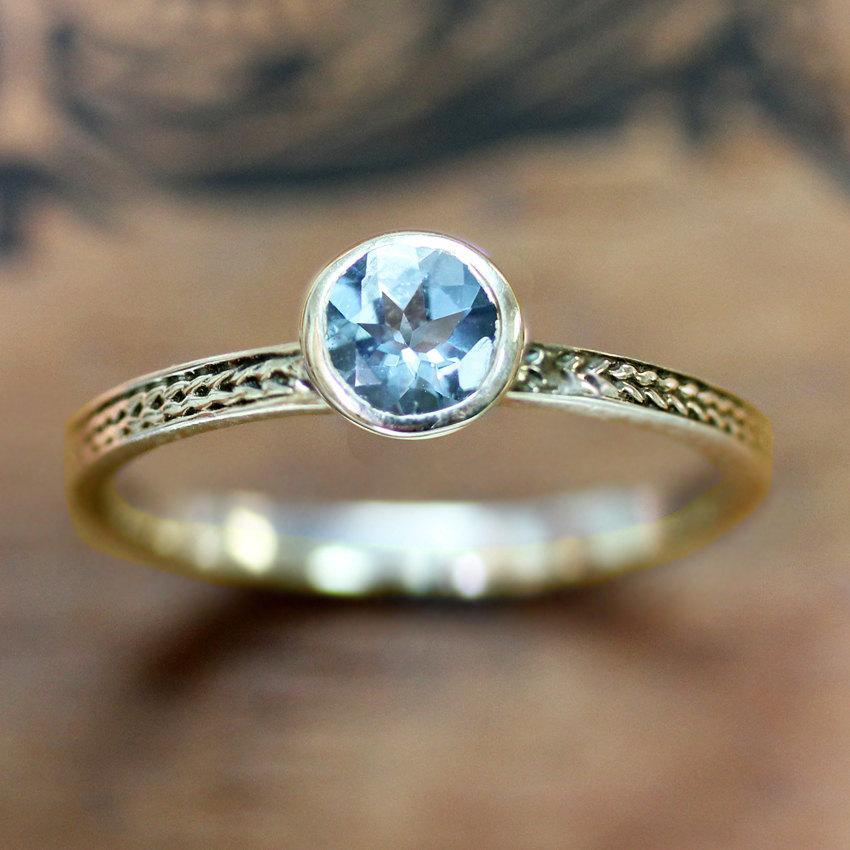Wedding - Aquamarine engagement ring in recycled 14k yellow gold - bezel engagement ring - wheat braid band, March birthstone - custom engagement ring