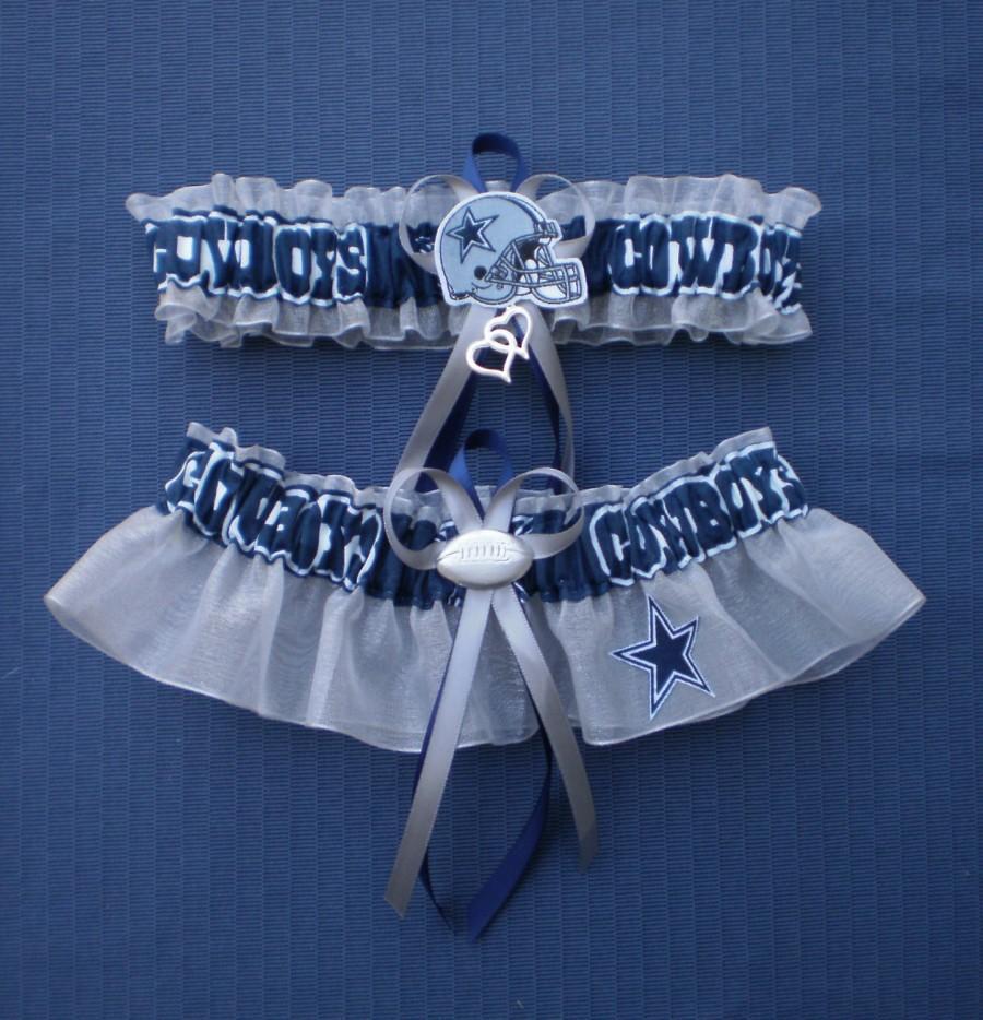 Hochzeit - Dallas Cowboys Fabric Silver Wedding Garter Set Prom  Football Double Heart Charms