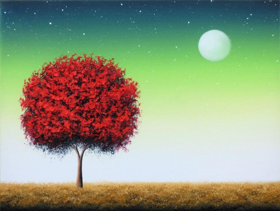 original oil painting red tree painting canvas art abstract tree