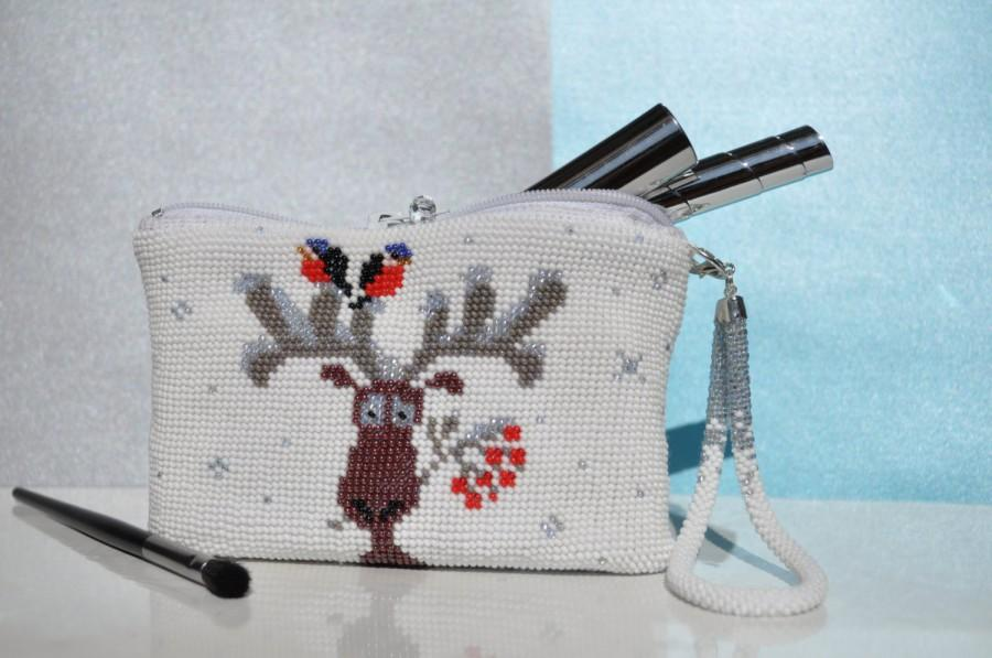 Wedding - Christmas deer makeup bag accessory white beads toiletry bag travel zipper pouch cosmetic medium zippered pencil knitted bridesmaid gift