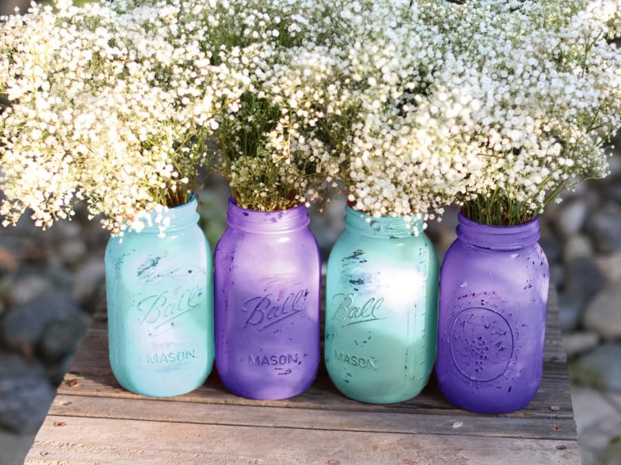 Strange Mason Jars In Turquoise Blue Violet Wedding Decoration Home Interior And Landscaping Synyenasavecom